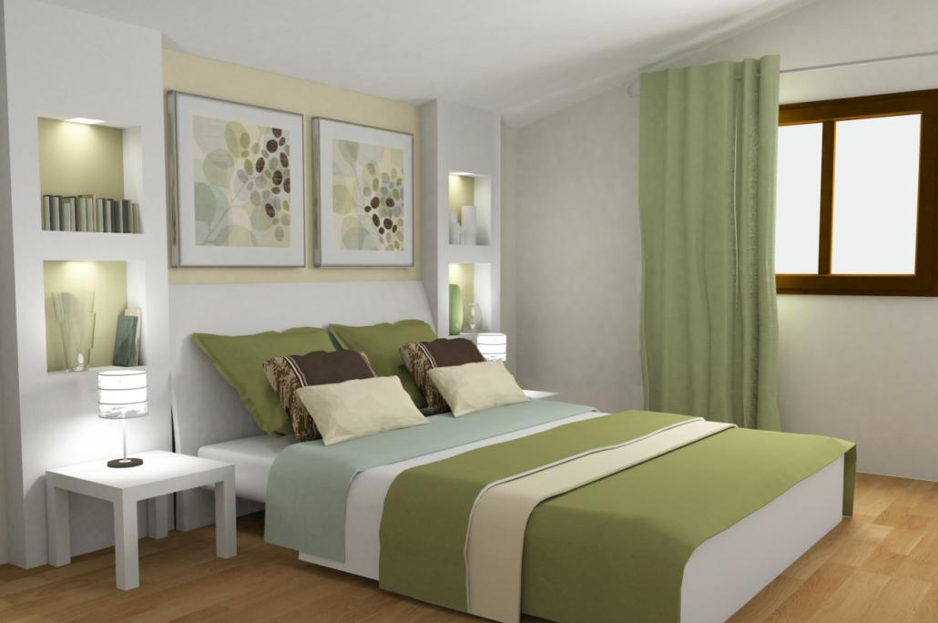 Schlafzimmer in Grüntönen